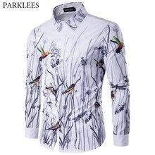 Fashion Floral Print Hawaiian Shirt Men 2019 Spring New Slim
