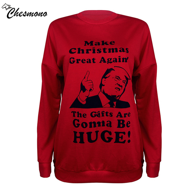 chesmono make christmas great again 2018 newest print christmas halloween pullover hoodies for womenmen