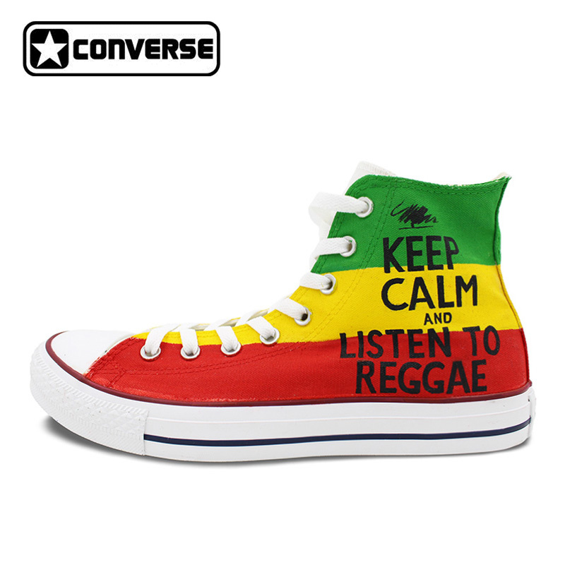 Colour Sneakers Women Men Converse All Star Reggae Music Design Custom Hand Painted Shoes High Top Man Woman Skateboarding Shoes sneakers men women converse all star anime fairy tail galaxy design custom hand painted shoes man woman christmas gifts