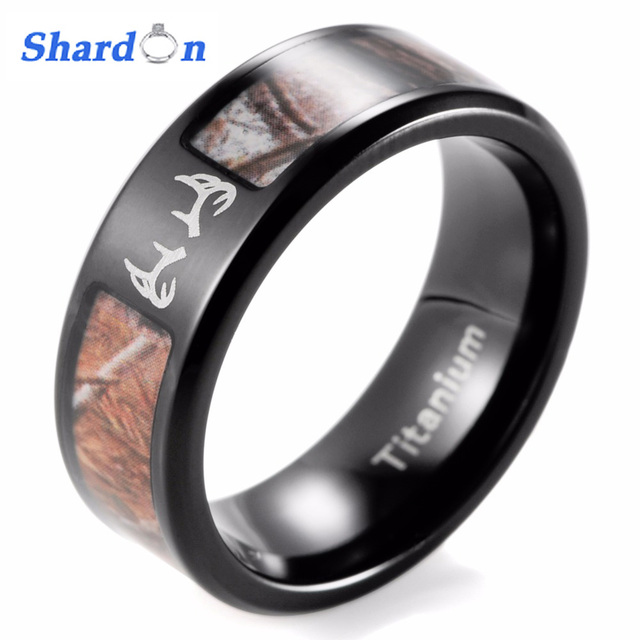 SHARDON Outdoor Deer Camo Ring Mens Black Titanium Real Tree Camo