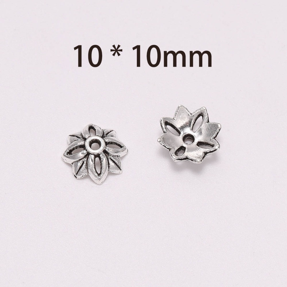 50Pcs Tibetan Silver Hollow Flower Carving Beads Cap For Jewelry Making 10mm DIY