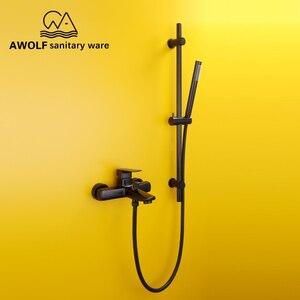 Image 4 - Роскошный смеситель для ванны черного цвета, раздвижная штанга, набор для душа, настенный смеситель, система для ванной комнаты, насадка для душа AH3011