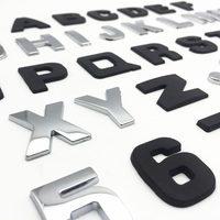 diy car 25mm DIY Letters Alphabet Emblem Chrome Car Stickers Digital Badge Automobiles Logo 3D Metal Car Accessories Motorcycle Sticker (5)