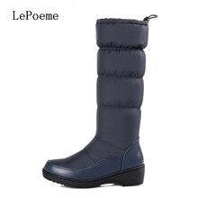 กลางลูกวัวบู๊ทส์หิมะ2016ฤดูหนาวขนาดใหญ่ขนาด35เซนติเมตร-44เซนติเมตรที่อบอุ่นหรูหราแฟชั่นกันน้ำรองเท้าผู้หญิงสีดำสีฟ้าสีขาวรองเท้าออสเตรเลีย