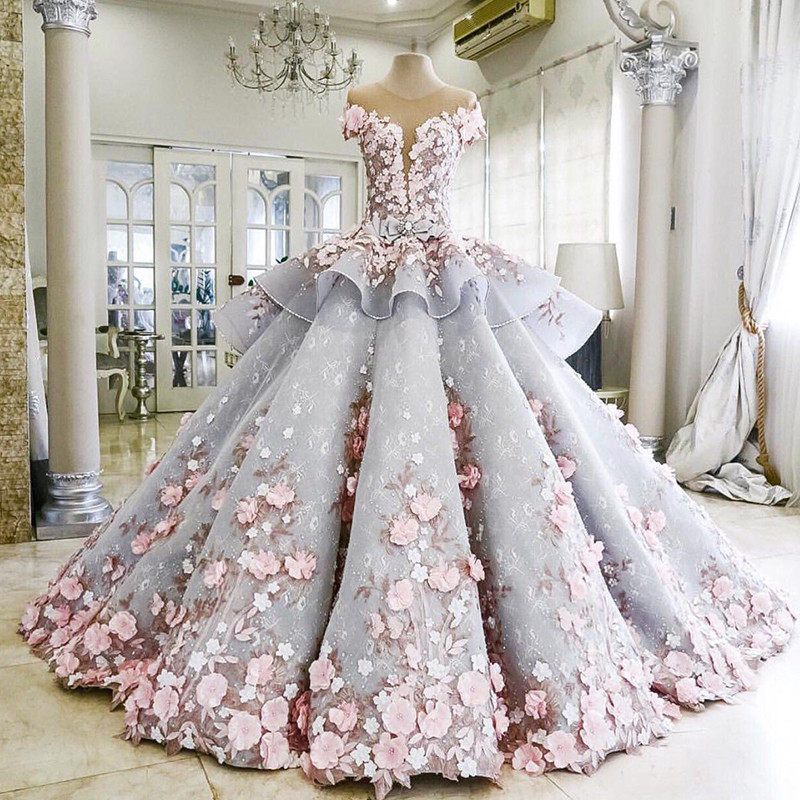 Luxury-Blue-1Wedding-Dress-Floor-Length-Sheer-Crew-Neckline-Lace-Appliques-Hand-Made-Pink-Flowers-3D