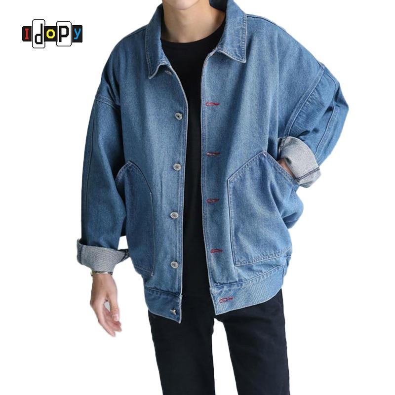 Idopy Men Fashion Urban Style Loose Fit Jean Jackets Denim Trucker Jacket For Male Outerwear Jeans Jacket Size S-3XL