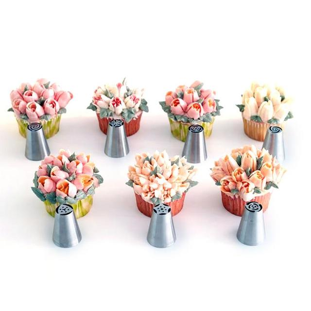 7/8/9 PCS Pastry Nozzles And Coupler Icing Piping Tips Sets Stainless Steel Rose Cream Bakeware Cupcake Cake Decorating