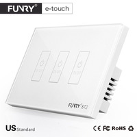 FUNRY US Plug Smart Touch Switch 3 Gang Wall Light Touch Screen Tempered Glass High Sensitivity