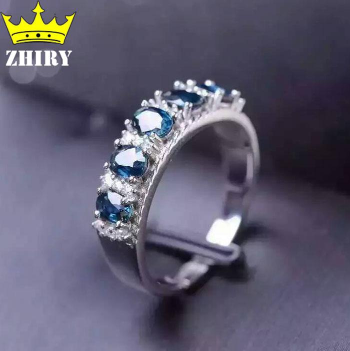 Women Natural Sapphire Stones Ring Genuine Solid Silver Gems Jewelry Rings Birthstone ZHHIRY термокружка gems 470ml black sapphire 1907 34