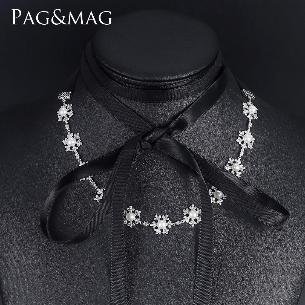 PAG&MAG Brand New Hot Sale Bohemia Style Black or Cream-colored Ribbon Natural Pearl Necklaces For Girls Gift Jewelry цены