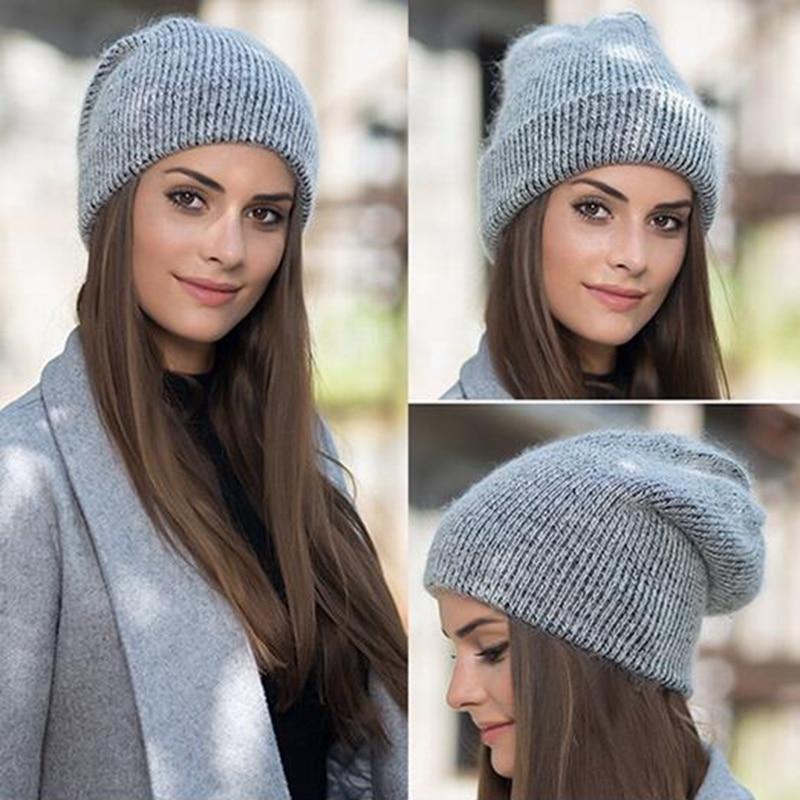 Women knitted Winter Hat female Warm Rabbit fluff beanie Girl Solid Bonnet femme Skullies beanies Soft Hats Women's Winter Caps