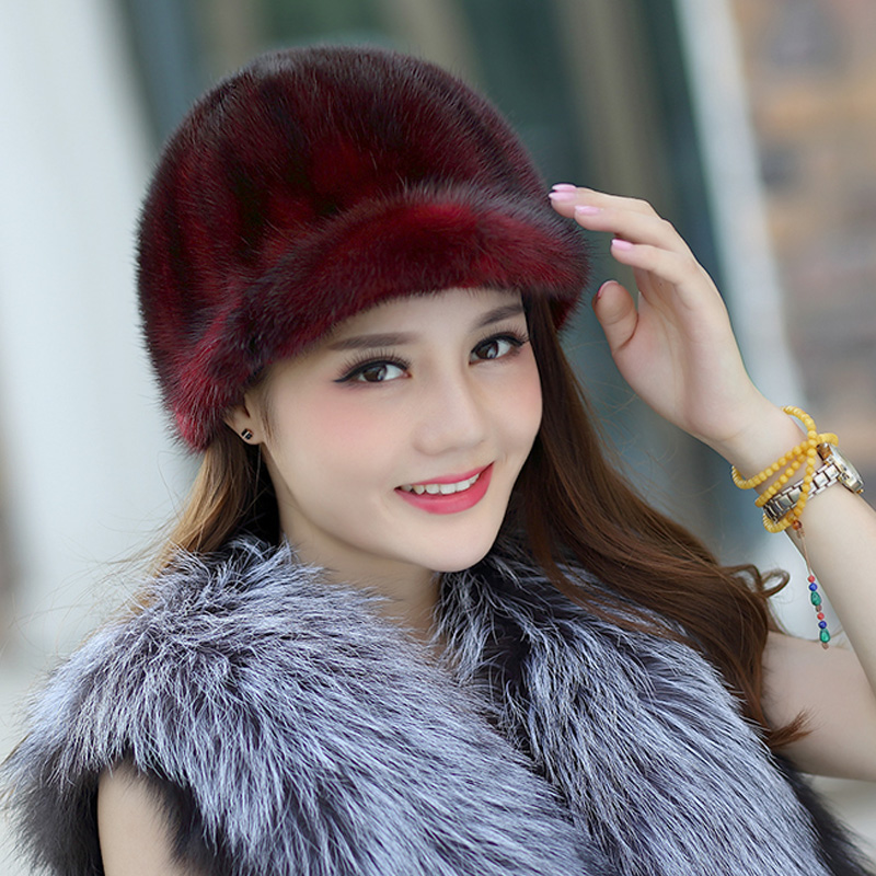 ZDFURS *Knight hat Real mink fur hat knitted hat for winter women   beanie   fur   skullies     beanies   Natural Genuine fur caps thick