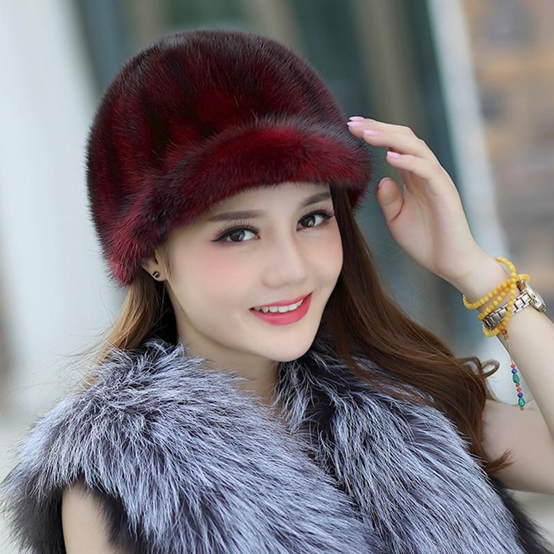ZDFURS * chevalier chapeau réel vison fourrure chapeau tricoté chapeau pour hiver femmes beanie fourrure skullies bonnets naturel véritable fourrure casquettes épais