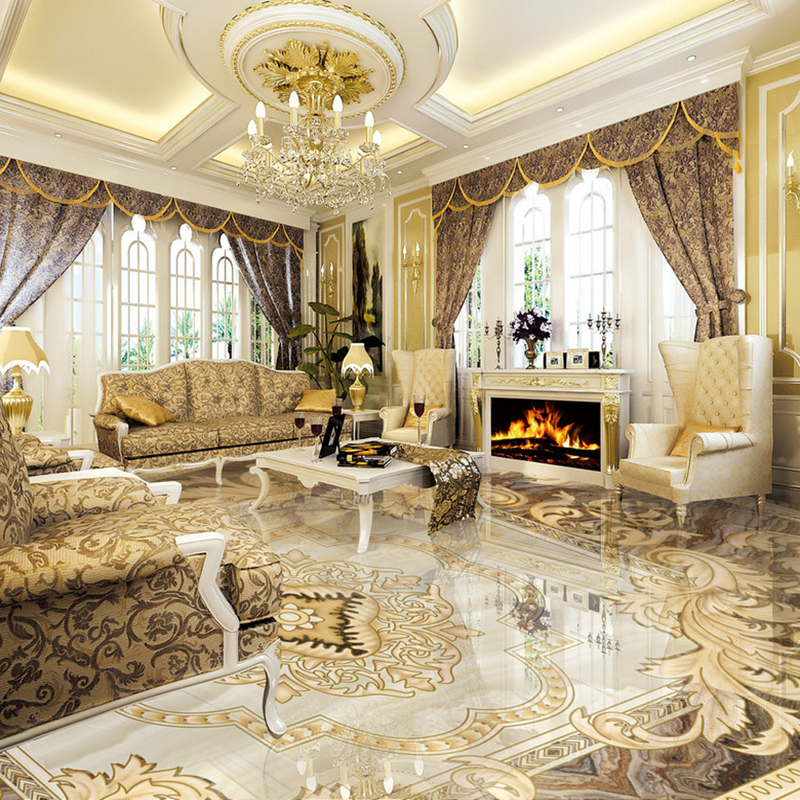 European Style 3D Floor Tiles Mural Marble Wallpaper Living Room Hotel Wear Non-slip Waterproof Self-adhesive Luxury Wall Papers