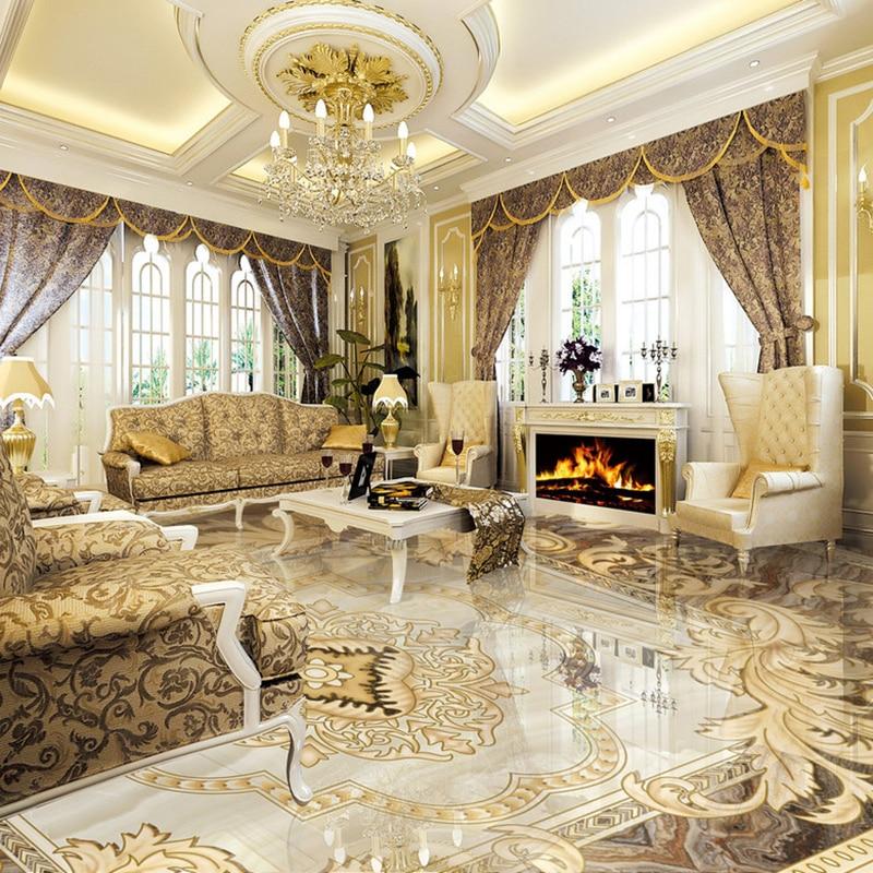 European Style 3D Floor Tiles Mural Marble Wallpaper Living Room Hotel Wear Non-slip Waterproof Self-adhesive Luxury Wall Papers