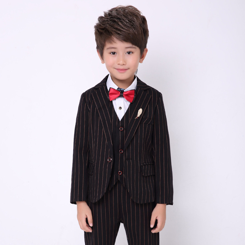 Boy Clothing Striped Kids Wedding Suits Formal Child Boy Tuxedo Toddler Boy Dress Suits Jacket Pant Vest Tie 5pcs Sets H47