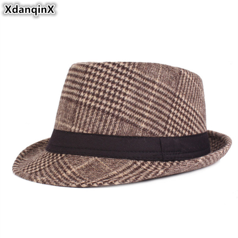 XdanqinX New Winter Mens Fedoras Hat Thick Warm Jazz Hats For Men Middle-aged Caps British Fashion Dads Snapback Cap