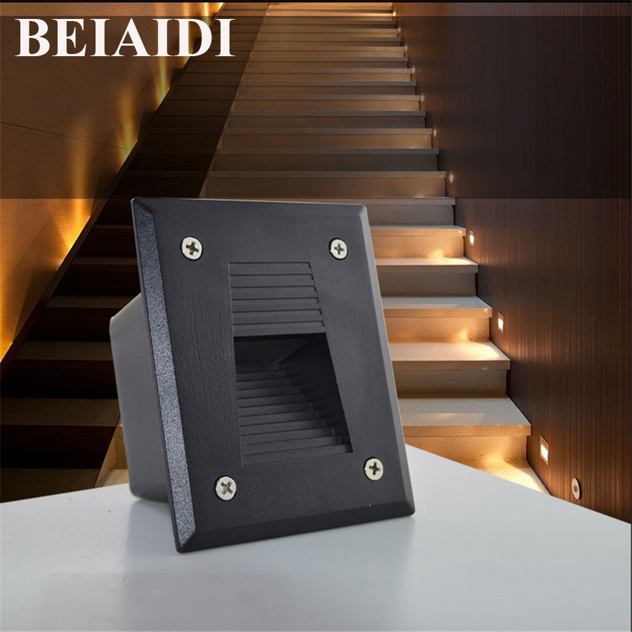 BEIAIDI 10PCS Outdoor LED Step Light 3W IP65 Waterproof Recessed Wall Corner Light LED Footlight Garden Landscape Stair Lights 86 style stair 3w led holding down led stairs light led wall light 2years warranty 120 130lm led step light