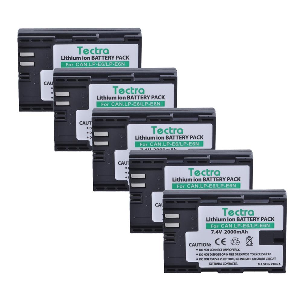 Tectra 5pcs LP-E6 LP-E6N LPE6 LPE6N Battery for Canon EOS 5D 5D2 5DS R Mark II 2 / III 3 6D 60D / 60Da 7D 7D2 7DII 70D 80D etc.