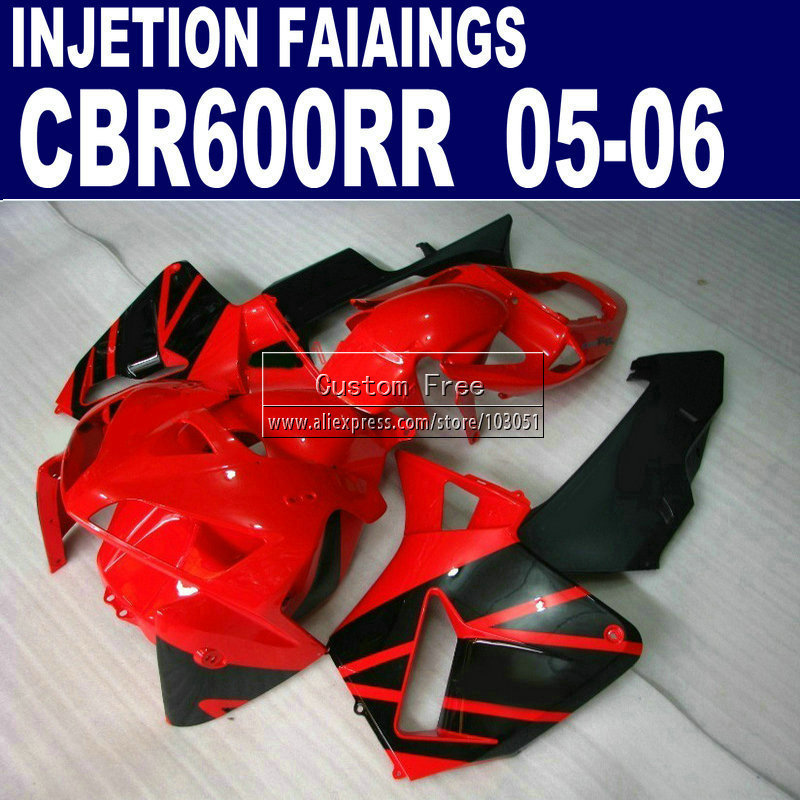 plastic Injection molding kit for Honda red black CBR600RR fairing CBR 600RR 2005 2006 05 06 motorcycle fairings parts hot sales for honda cbr600rr 2003 2004 cbr 600rr 03 04 f5 cbr 600 rr blue black motorcycle cowl fairing kit injection molding