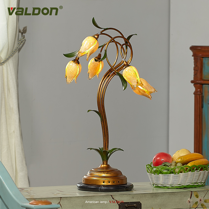 Home lighting style garden table lamp retro personality romantic flowers European living room bedroom study lightin lamps ZA ZL
