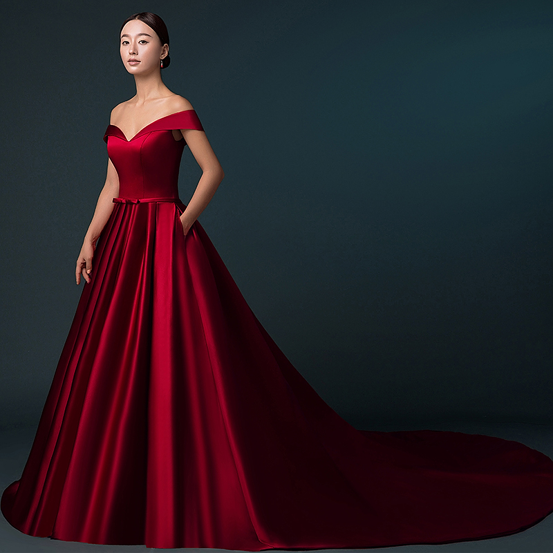 Chapel Train Burgundy Satin Wedding Dress Off Shoulder A Line Women Bridal Lace Up Custom Size In Dresses From Weddings Events On