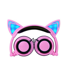 Foldable Flashing Glowing Cute Cat Ear Earphones Headphones Gaming Headset with Luminous for A Mobile Phone PC Laptop Computer
