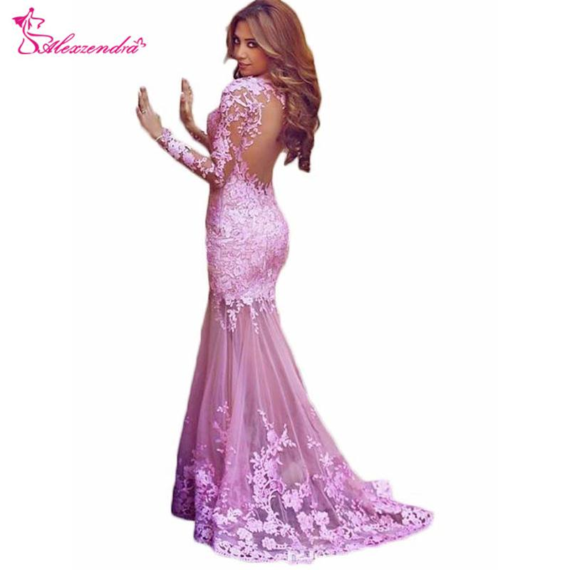 Alexzendra Purple Mermaid Lace Long Prom Dresses with Long Sleeves Formal Evening Gown Custom Made Party