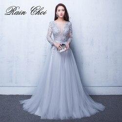 2019 Avondjurken 3/4 Mouwen Applicaties Zilveren Formele Gown Lange Avond Party Dress vestido de festa