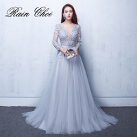 bdd85369b8 2019 Evening Dresses 3 4 Sleeves Appliques Silver Formal Gown Long Evening  Party Dress Vestido De