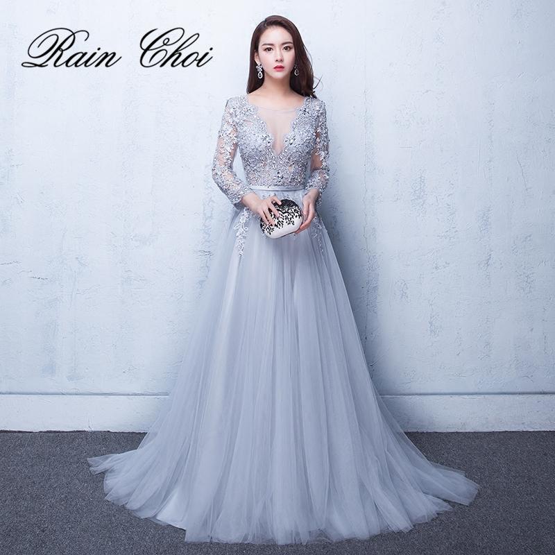 2021 Evening Dresses 3/4 Sleeves Appliques  Formal Gown Long Evening Party Dress vestido de festa