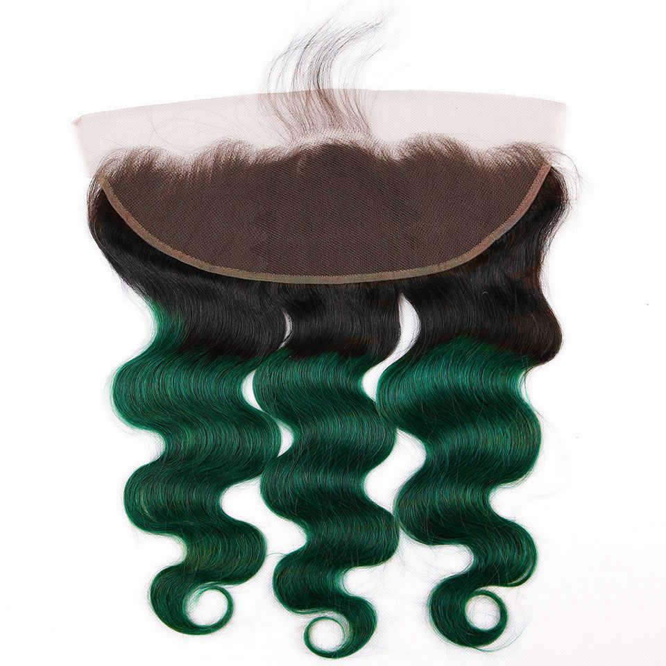 Türkis Bundles Mit Frontal Malaysische Haar Bundles Mit Verschluss NonRemy Schönheit Plus Dark Grün Ombre 2 3 Bundles Mit Frontal