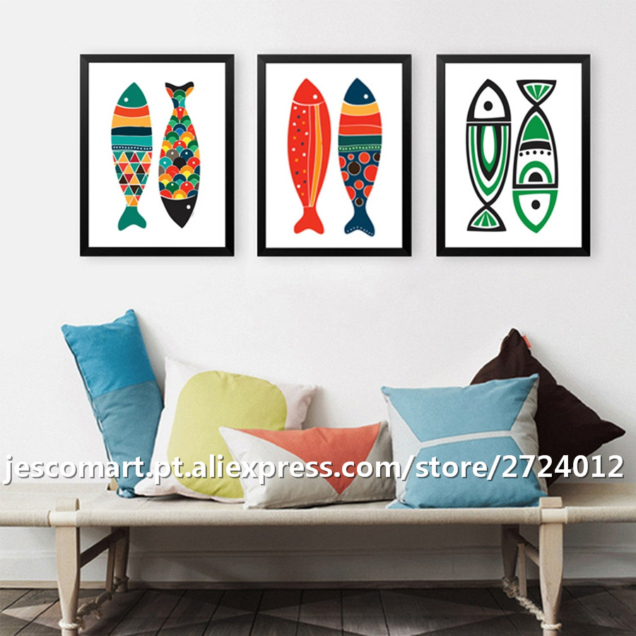Home Decor Canvas Painting Abstract Style Colourful Fish Wall Art For  Living Room Hotel Decor Ready To Hung Top Quality In Painting U0026 Calligraphy  From Home ...