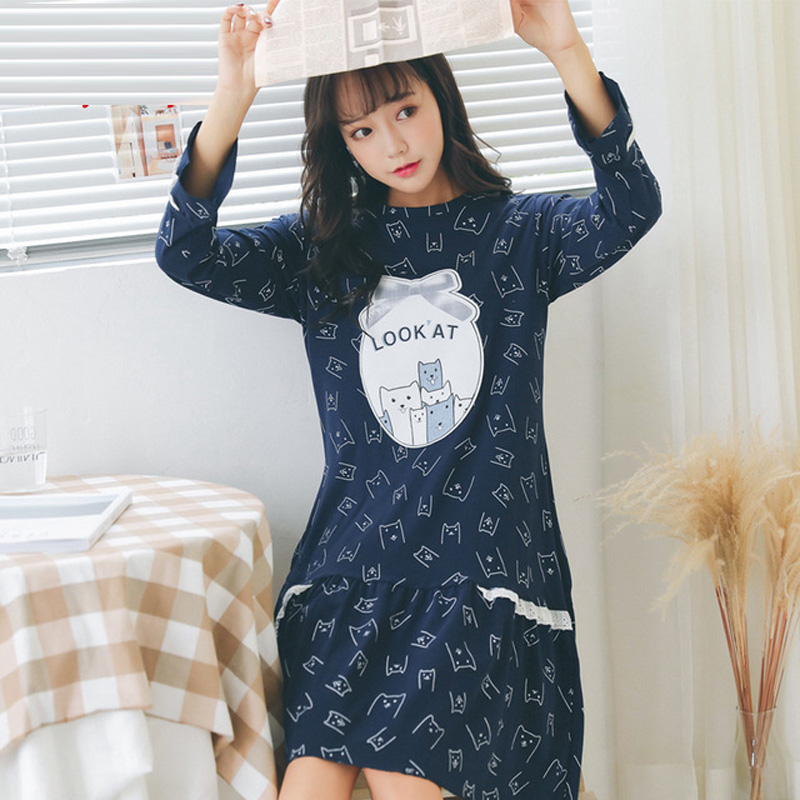 Yidanna women sleepwear cotton   nightgowns     sleepshirt   in autumn long sleeve sleep clothing for girl kid character onesies nightie