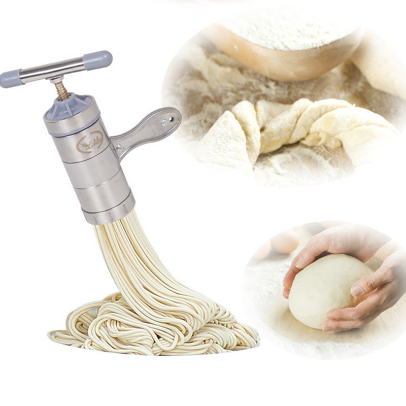 Stainless Steel Handheld Noodle Maker Manual Press Noodle And Pasta Machine For Kitchen Tool With 5 Blade Knife Easy Operation