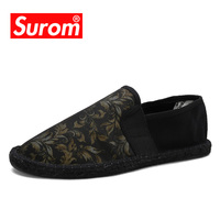 SUROM Men's Espadrilles Slip On Canvas Upper Hemp Sole Male Loafers Floral Print Men Flat Heel For Casual Shoes Size 39 45