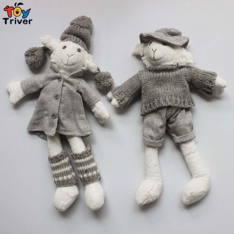 32cm Plush Sheep Lamb Penguin Snowman Couples Hand Knitted Toys Knitting Dolls Baby Kids Girl Firend Kawaii Birthday Gift пинетки митенки blue penguin puku