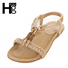 HEE GRAND Beach Bohemia Women Sandals Open Toe Flat Shoes Cross Strap Female Ladies Shoes Soft With Elastic Band XWZ633