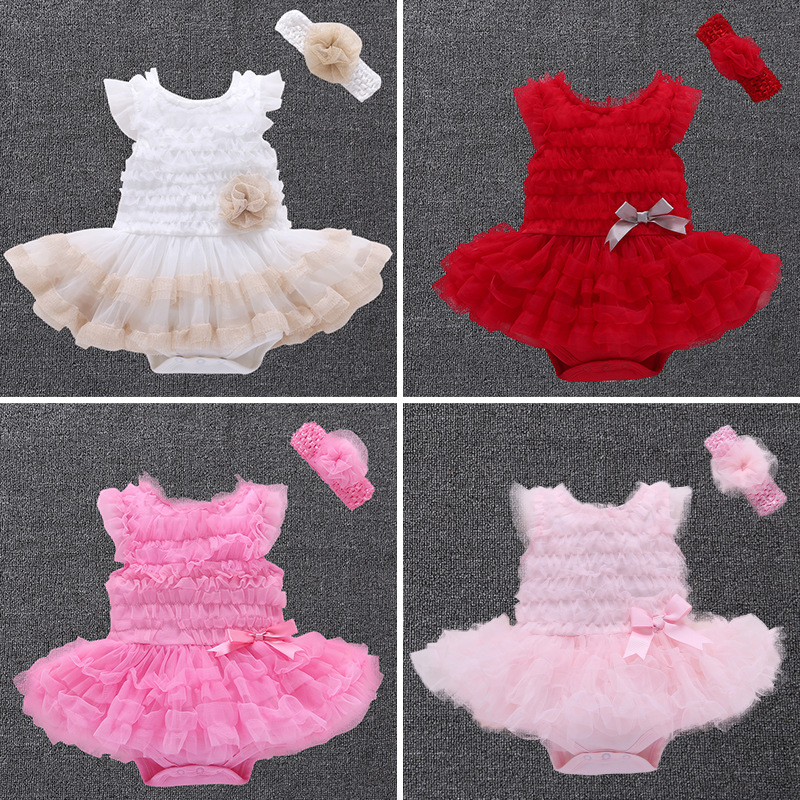 High quality fashion New Born Baby Dress +Headband 2pcs Baby Rompers Soft Baby Girls dress princess Infant Clothes Jumpsuit