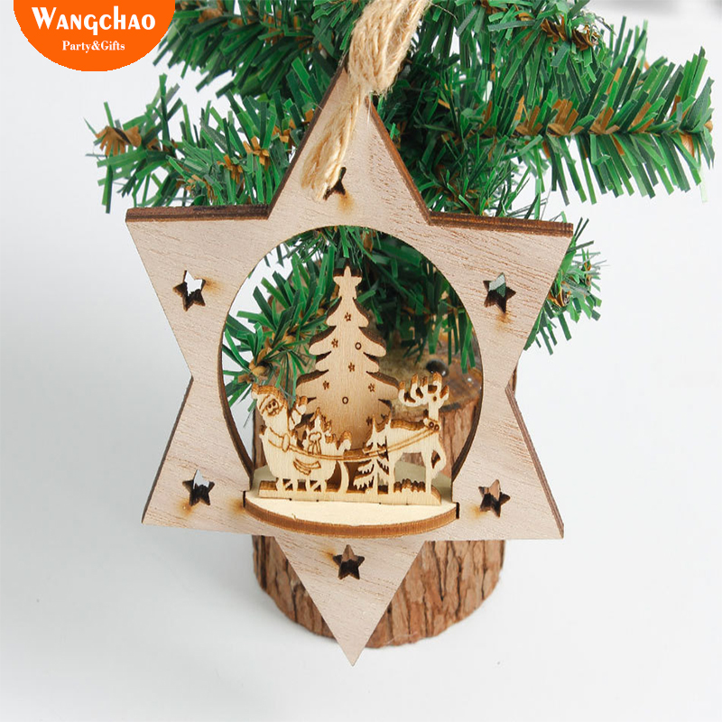 Wood Christmas Decorations.5pcs Bag Natal Wooden Christmas Tree Decorations Christmas Ornaments For Home Xmas Decor New Year Christmas Deals