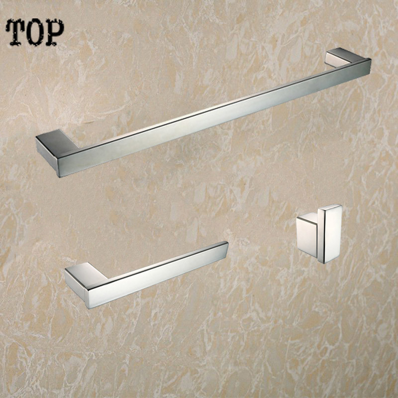 Stainless steel bathroom accessories set 3 Piece-Single Towel Bar and Towel Ring and cloth robe hook Polished Finished bathroom towel bar 60cm bath towel accessories stainless steel single towel rack with hook