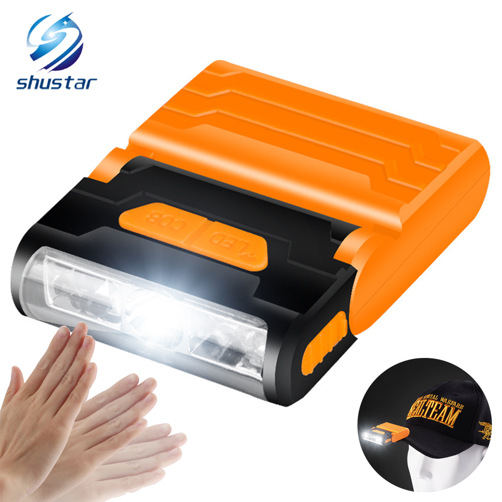 Rechargeable Body Motion Sensor LED Headlamp Hat Clip Light Adjustable Lamp Cap Waterproof Material Built-in Lithium Battery