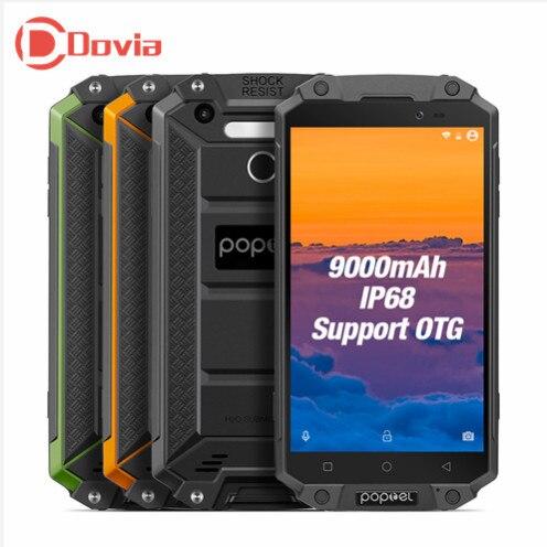 Poptel P9000 MAX 9000 mah 4g Mobile Téléphone 5.5 Android 7.0 MTK6750V Octa Core 4 gb + 64 gb Détection De Visage Double Cames IP68 Smartphone