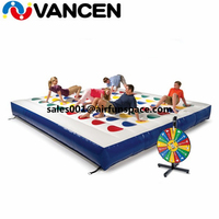 New exciting inflatable twister game commerical 5*5m PVC inflatable twister air track for kids party for rental