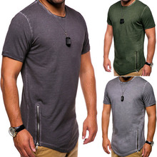 ZOGAA 2019 New Summer new brand 4 color T-shirt casual round neck zipper decoration loose comfortable size M-2XL