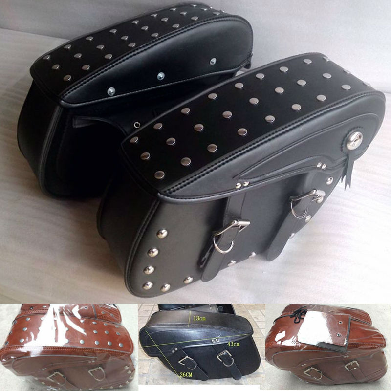 Brown Black Leather motorcycle saddle bags font b tool b font bag bag motorcycle bolsa motocicleta