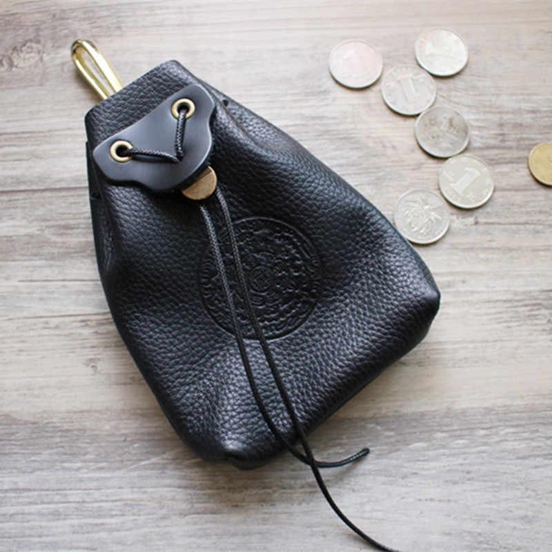 LEACOOL 100% Geuine Couro De Alta-capacidade Coin Bolsa de Moedas Do Vintage Saco Bolsa Com Cordão Bolsa Jóias Embalagem Sacos de Cabaça Com Gancho