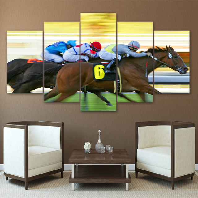 Canvas Painting 5 Panel Horse Racing Home Decor Print Vintage Wall Art Picture For Living Room