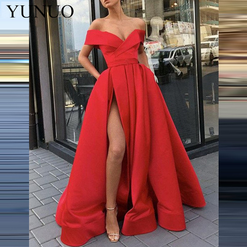 YuNuo Simple épaule dénudée col en v décolleté robe de bal a-ligne fendue robe de soirée confortable Graduation groupe de balle N11