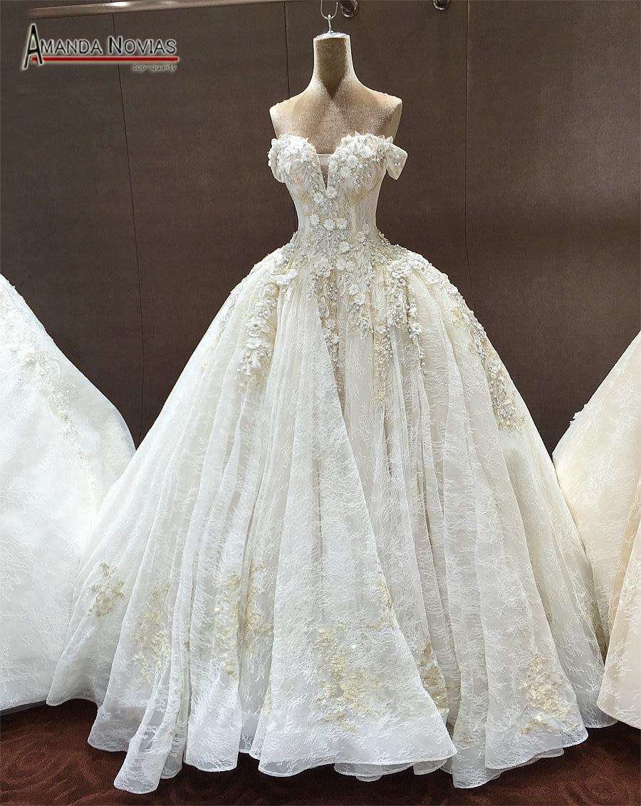 Off The Shoulder Straps Luxurious Wedding Dress With 3D Flowersluxury wedding dresseswedding dressluxurious wedding -